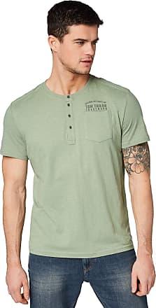 Tom Tailor mens Baumwoll Henley T-Shirt Regular Fit Plain Button Front Short Sleeve T - Shirt - Green - XX-Large