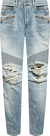 Balmain Jeans With Logo Mens Light Blue