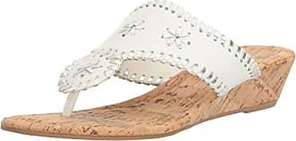 Rampage Womens Scheena Thong Cork Low Wedge Sandal, White/Silver, 8.5 M US