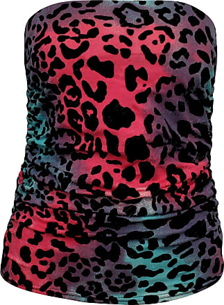Janisramone Womens Ladies New Printed Side Ruched Bandeau Boob Tube Strapless Sleeveless Bra Vest Crop Top