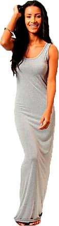Crazy Girls Womens Plain Muscle Racer Back Sleeveless Bodycon Long Maxi Dress (UK20/22, Silver Grey)