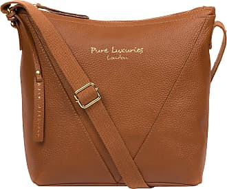 Pure Luxuries London Pure Luxuries London Rena Womens 39cm Biodegradable Leather Cross Body Bag with Zip Over Top, Unlined Central Compartment and Adjustable Webbed Canvas