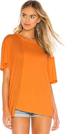 Hudson Split Oversized Boyfriend Tee in Orange
