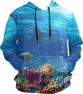 NaiiaN Casual Letter Hooded Sweatshirt with Pocket Graphic Print Mens Hoodie Long Sleeve Pullover Sea Ocean Underwater World Animal Fish