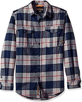 1116b367 Walls Mens Heavyweight Brushed Flannel Shirt, Navy Buffalo Plaid, Large