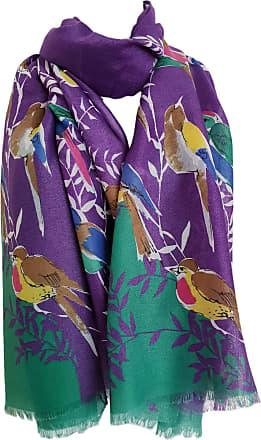 GlamLondon Womens Bird Print Scarf Oversize Latest Fashion Wrap (Purple)
