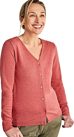 WoolOvers Womens Cashmere Merino Classic V Neck Cardigan Raspberry Rose, L