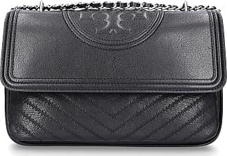 Tory Burch Handbag FLEMMING leather logo embroidery black