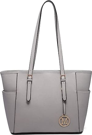 Quirk Miss LULU Faux Leather Shoulder Handbag Large Tote Bag (Light Grey)