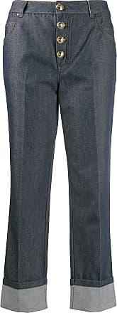 Escada cropped button jeans - Azul