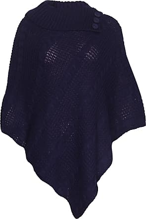 Purple Hanger Womens Cape Shawl Wrap Long Knitted Sweater Folded Roll Neck Button Jumper Ladies Poncho Top One Size Navy Blue One Size 8 - 16