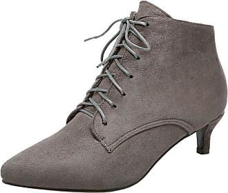 RAZAMAZA Womens Lace up Pointed Toe Kitten Heels Ankle Dress Boots (41 EU,Grey)
