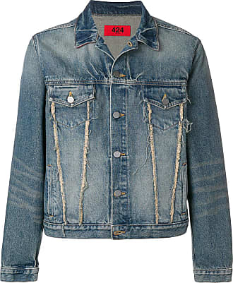 424 frayed detail denim jacket - Azul