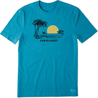 Life is good Mens Beach Landscape Whale Crusher Tee XXXL Heather Seaport Blue
