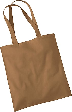 Westford Mill Womens Cotton Promo Shoulder Tote Carry Bag Caramel One Size