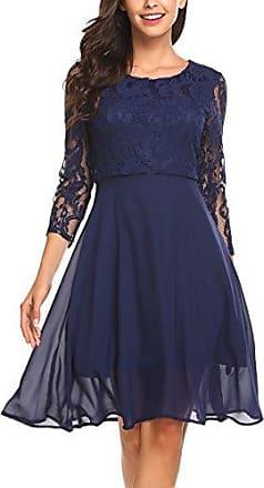 622b882a17e10 Parabler Damen Elegant Chiffonkleid Ballkleid Abendkleid Cocktailkleid 3/4  Arm mit Spitzen Party Kleid A