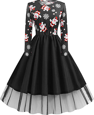 FeelinGirl Women Cocktail Party Dress Christmas Skater Print Skirt Christmas Eve with Long Sleeve Round Neck High Waist Vintage Dress Black 5XL