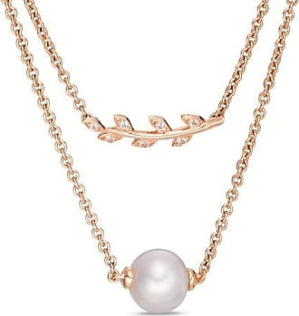 ba84136ff Zales 8.0mm Cultured Freshwater Pearl and Lab-Created White Sapphire  Necklace in Sterling Silver