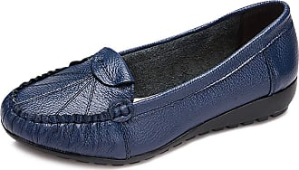 Daytwork Womens Casual Work Shoes - Ladies Round Toe Flat Loafers Wedge Heel Mocassins Slip-On Boat Shoes Slip Resistant Office Basic Style Blue