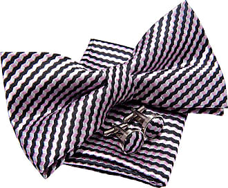 Retreez Wavy Zig Zag Stripe Pattern Woven Pre-tied Bow Tie (5) with matching Pocket Square and Cufflinks, Gift Box Set as a Christmas Gift, Birthday Gift - Bl