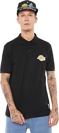 NBA Camisa Polo NBA Reta Los Angeles Lakers Preta