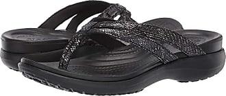Crocs Capri Strappy Flip (Black/Black) Womens Sandals
