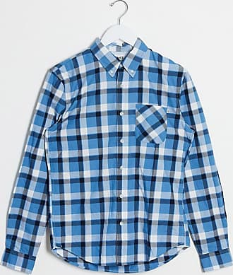Timberland twill check slim long sleeve shirt-Blue