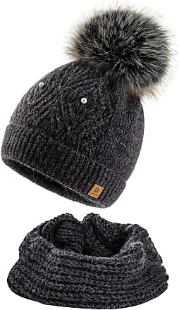 4sold Women Ladies Chunky Soft Cable Knit Hat & Scarf Natural Mohair Wool with Cosy Fleece Liner and Handmade Faux Fur Pompom - Set Lili Dark Grey