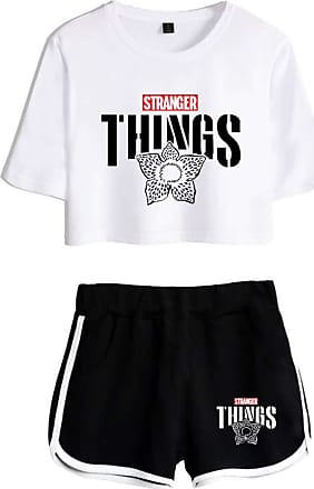 OLIPHEE Girls Stranger Things New Season Character Printed Tracksuits Casual Summer Crop Tops and Shorts T-Shirt Suits Things Flower White Black XS