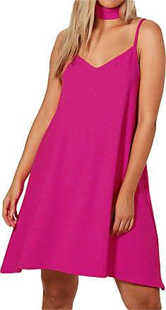 Parsa Fashions New Womens Liverpool Fabric Choker V Neck Sleeveless Cami Dress Top Plus Size UK 16-24 (24, Cerise)