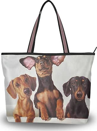 Lorona Women Dachshund Dog Art Painting Canvas Shoulder Hand Bag Large Capacity Tote Bag