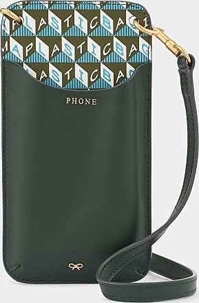 Anya Hindmarch I Am A Plastic Bag Phone Pouch on Strap Recycled Coated Canvas in Olive