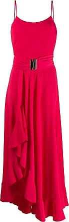 Blanca Maxi vestido com fenda e babado - Vermelho