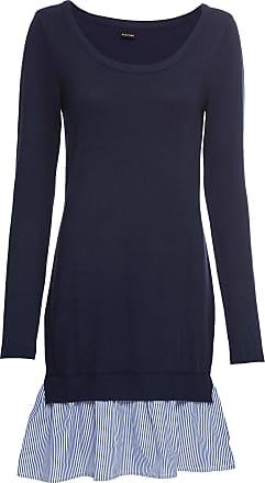 Bodyflirt Dam Stickad klänning med blusinfällning i blå lång ärm - BODYFLIRT a9824adca0a28