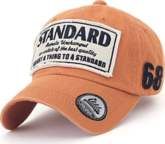 Ililily Washed Cotton Patch Baseball Cap Standard Embroidery Casual Trucker Hat, Orange