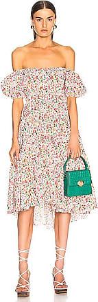 Caroline Constas Bardot Flounce Dress in Novelty,Red,White
