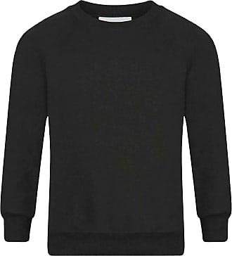 21Fashion Adults Kids Crew Neck Plain Sweatshirt Girls Boys School Office Wear Jumper Top Black X Large