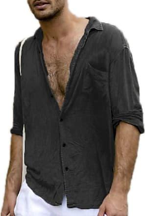 Hellomiko keepmore Mens Simple Casual Cotton Linen Long Sleeve Shirt Single Breasted Design Turn Down Collar Shirt Black