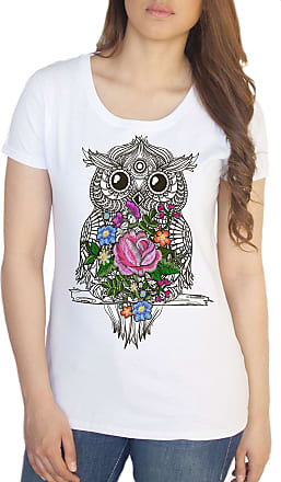 Irony Womens White T-Shirt Embroidery Effect Owl Geometric Icon Flowers Effect Owl Zen Print TS755 (XXLarge)