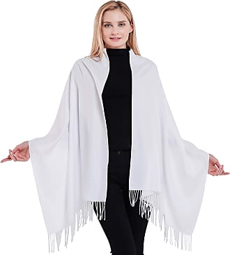 CJ Apparel White Thick Solid Colour Design Cotton Blend Shawl Scarf Wrap Stole Throw Pashmina CJ Apparel NEW