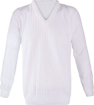 21Fashion Mens Bowling V Neck Knitted White Ribbed Jumper Adults Sports Wear Sweater Top White 5X-Large
