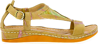 Laura Vita Bruel 10, Womens Leather Sandals, Summer City Shoes, Comfortable Sole - Original Style Flowers, Beige Beige Size: 9 UK