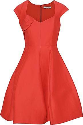 c68d4ad8178a Halston Heritage Halston Heritage Woman Cotton And Silk-blend Mini Dress  Tomato Red Size 2