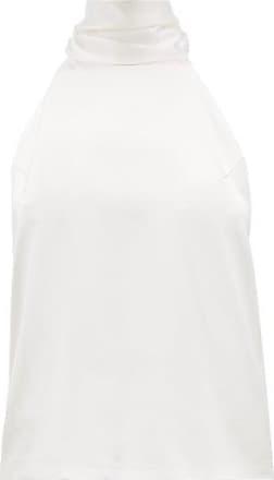 Galvan Sash-neck Silk-satin Top - Womens - White
