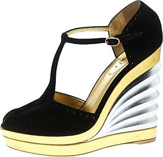 5b8e4cddf669 1stdibs Saint Laurent Paris Black Suede Peep Toe Wedge Platform Sandals  Size 39.5