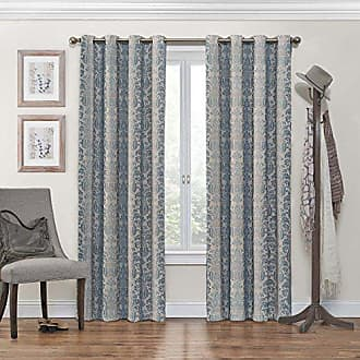 Eclipse KOZDIKO Eclipse Blackout Curtains for Bedroom - Nadya 52 x 63 Insulated Darkening Single Panel Grommet Top Window Treatment Living Room, Smokey Blue