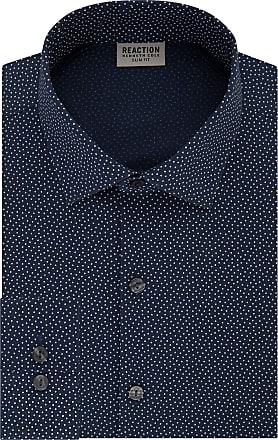 Kenneth Cole Reaction Mens Technicole Slim Fit Stretch Print Spread Collar Dress Shirt, Night Blue, 15 Neck 32-33 Sleeve