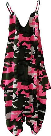 Islander Fashions Womens Plus Size Spaghetti Strap Jumpsuit V Neckline Loose Harem One Piece Romper (Large, Camouflage Pink)