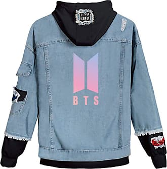 OLIPHEE Womens Casual Denim Jacket Button Splicing Hooded Fangirls Kpop BTS Persona Bangtan Boys Loveyourself Suga Jin Jung Kook RM J-Hope Jimin V BTS Blue Bl