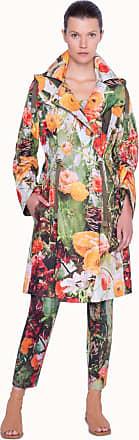 Akris Langer Windbreaker mit Blumendruck und abnehmbarer Kapuze